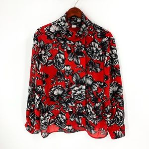vintage | Pyke LTD Red Floral Print Blouse
